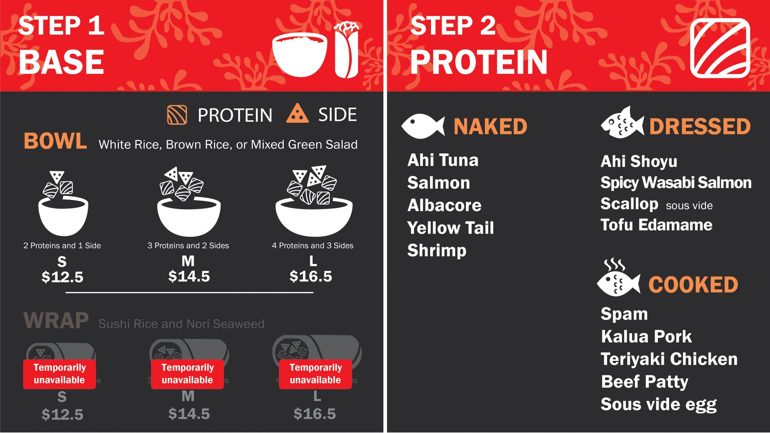 Pokirito Menu Steps 1 and 2